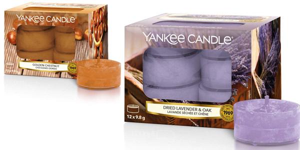 Pack x12 velas de té Yankee Candle Lavanda y Roble barato en Amazon