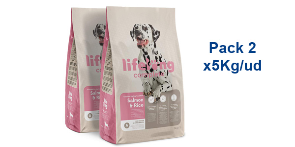 Pack x2 Envases Comida Seca Lifelong Complete Salmón & Arroz de 5 kg/ud Perros Adultos barato en Amazon