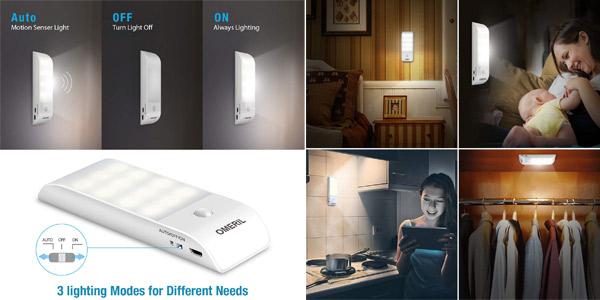 Pack x2 Luces LED OMERIL para armario con sensor de movimiento chollo en Amazon