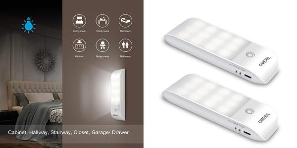 Pack x2 Luces LED OMERIL para armario con sensor de movimiento barato en Amazon