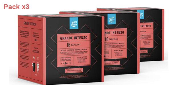 Pack x3 Estuches Café Happy Belly Grande Intenso de 16 cápsulas/ud barato en Amazon