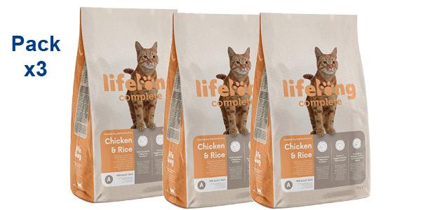 Pack x3 Comida seca Lifelong Complete Arroz & Pollo para gatos adultos de 3 kg/ud barato en Amazon