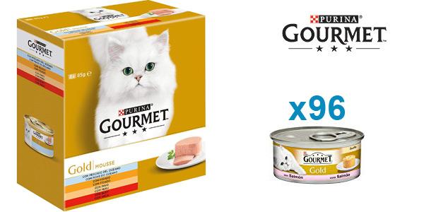 Pack x96 Purina Gourmet Gold Mousse para gatos surtido sabores (8x12) barato en Amazon