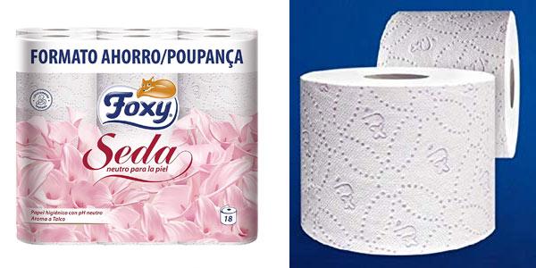 Pack de 18 rollos papel higiénico Foxy Seda barato en Amazon