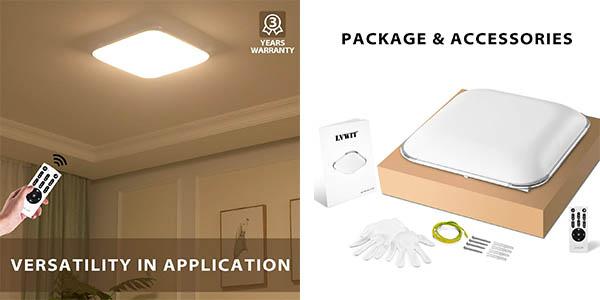 plafón LED de techo Lvwit regulable con mando a distancia oferta