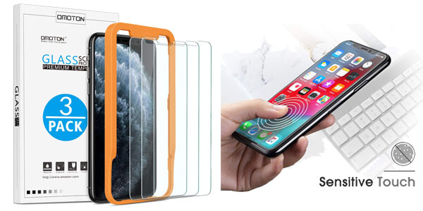 Pack x3 protector pantalla cristal templado iPhone 11 Pro MAX y iPhone XS MAX con guía chollo en Amazon