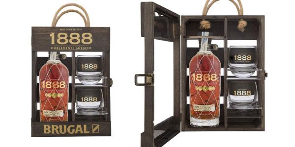 Ron Brugal 1888 + estuche de madera + 2 vasos barato en Amazon