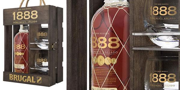 Ron Brugal 1888 + estuche de madera + 2 vasos en oferta en Amazon
