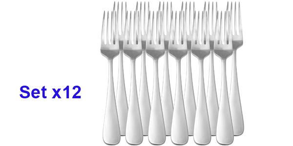Juego de 12 Tenedores de mesa AmazonBasics de acero inoxidable barato en Amazon