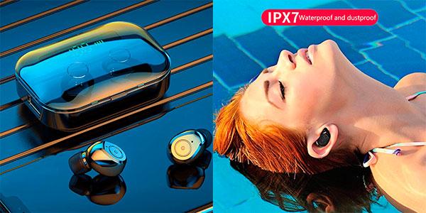 Auriculares pioleUK inalámbricos intrauditivos Bluetooth 5.0 con pantalla LED baratos