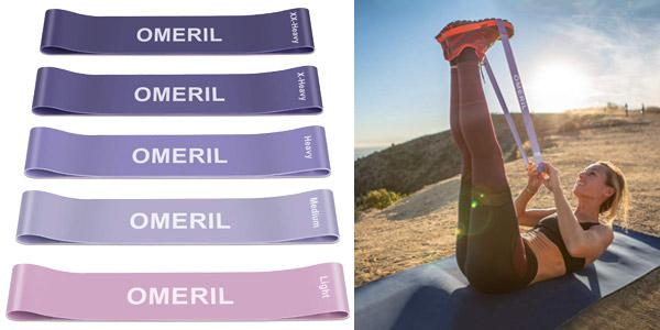 Pack x5 Bandas Elasticas de Fitness Omeril barato en Amazon