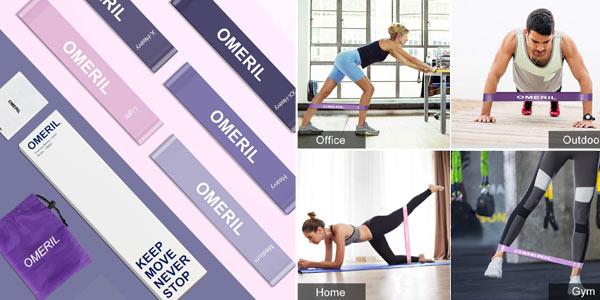 Pack x5 Bandas Elasticas de Fitness Omeril chollazo en Amazon