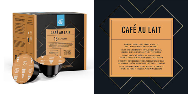 Cápsulas café con leche Amazon Happy Belly Dolce Gusto baratas en Amazon