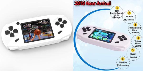 Consola portátil Bornkid con 100 juegos clásicos barata en Amazon