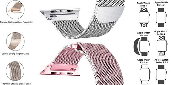 Pulsera tipo Milanese Loop de acero inoxidable para Apple Watch barata