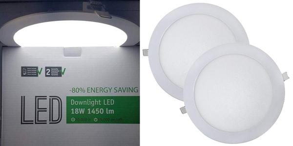 Juego 2 Downlight LED redondos Wonderlamp W-E000045 extraplanos de 18 W barato en Amazon