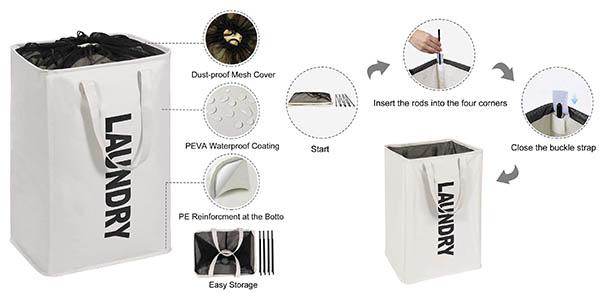 Lifewit cesto para ropa sucia con cupón descuento en Amazon