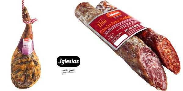 Lote de Paleta Serrana Reserva de 4,5 a 5kg Iglesias + Dúo de Chorizo y Salchichón de 400G chollo en Amazon