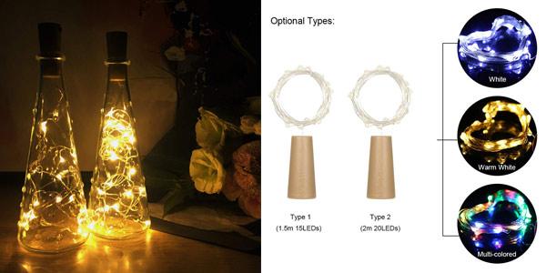 Luces LED decorativas Lilideni Bottle Light de 2m 20LEDs IP65 baratas en Amazon