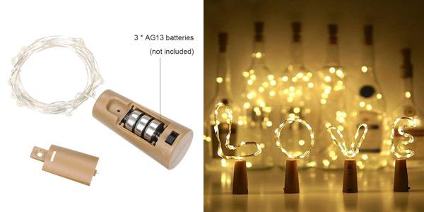 Luces LED decorativas Lilideni Bottle Light de 2m 20LEDs IP65 chollo en Amazon
