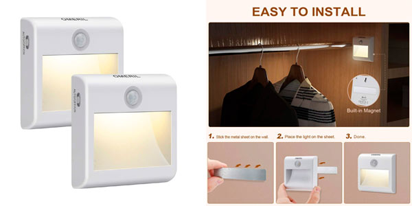 Pack 2 luces nocturnas a pilas con sensor de movimiento Omeril baratas en Amazon