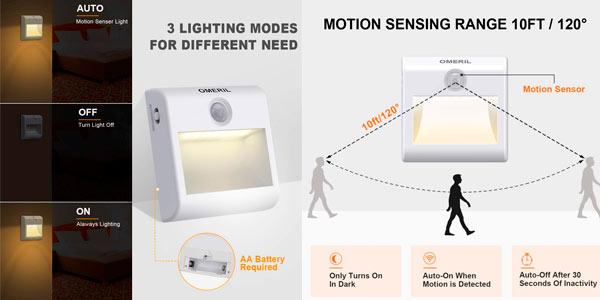 Pack 2 luces nocturnas a pilas con sensor de movimiento Omeril en oferta en Amazon