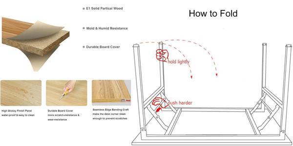 Mesa de escritorio plegable SogesHome de 100 x 60 x 75 cm chollo en Amazon