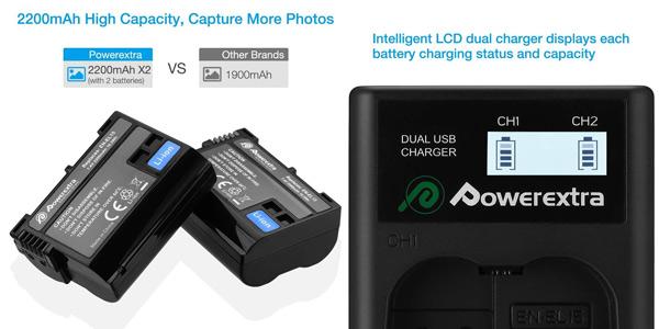 Pack x2 baterías Powerextra Nikon EN-EL15 + Cargador inteligente con pantalla LCD chollazo en Amazon