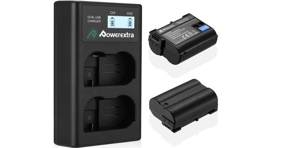 Pack x2 baterías Powerextra Nikon EN-EL15 + Cargador inteligente con pantalla LCD barato en Amazon