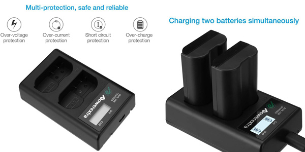 Pack x2 baterías Powerextra Nikon EN-EL15 + Cargador inteligente con pantalla LCD chollo en Amazon