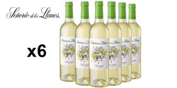 Pack x6 botellas vino blanco Señorío de los Llanos Verdejo de 750 ml barato en Amazon