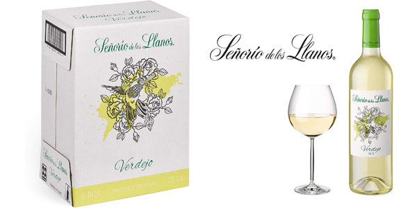 Pack x6 botellas vino blanco Señorío de los Llanos Verdejo de 750 ml chollo en Amazon