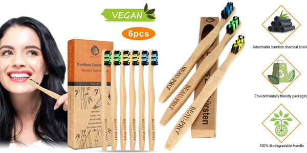 Pack 6 Cepillo Dientes Bambu Beau-Pro barato en Amazon
