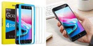 Pack x4 protectores de pantalla Sparin de cristal templado para iPhone 6/6s/7/8 con guía barato en Amazon