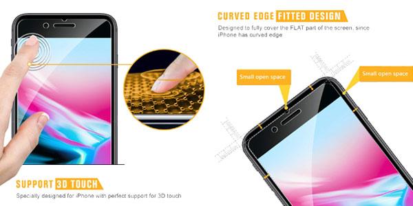 Pack x4 protectores de pantalla Sparin de cristal templado para iPhone 6/6s/7/8 con guía chollo en Amazon