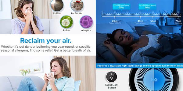 purificador de aire con filtro HEPA Levoit barato