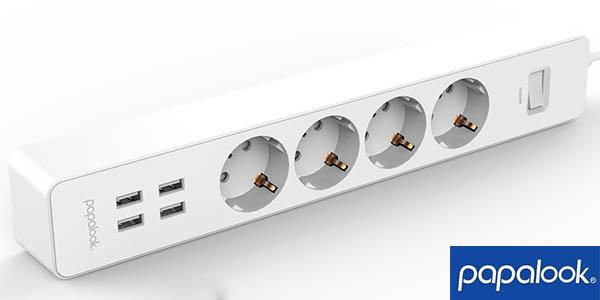 Regleta Papalook con 4 tomas + 4 USB
