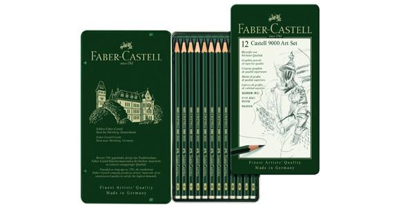 Set de 12 lápices Faber Castell 9000 para dibujo artístico barato en Amazon