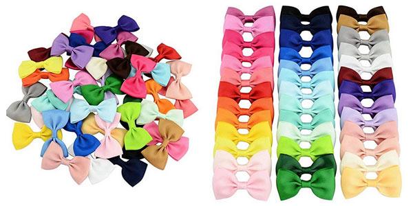 Set 40 lazos de pelo de colores para niña Amilses barato en Amazon