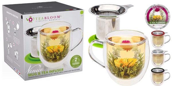 Taza de té de cristal doble con infusor de Teabloom & tapa +2 flores de té gourment barato en Amazon