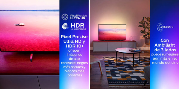 "Smart TV Philips 55PUS6704/12 UHD 4K de 55"" HDR Ambilight 3 chollo en Amazon"
