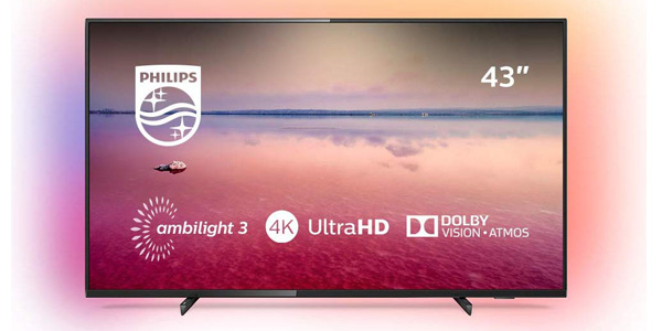 "Smart TV Philips 55PUS6704/12 UHD 4K de 55"" HDR Ambilight 3 barata en Amazon"