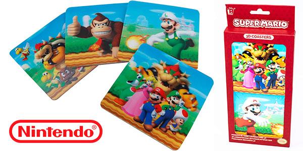 Set de 8 posavasos de Super Mario con efecto 3D barato