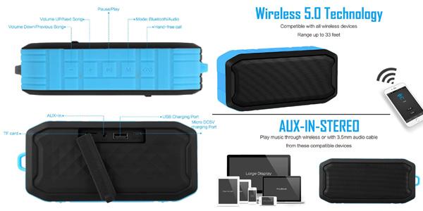 Altavoz Bluetooth impermeable Mbuynow IPX7 para ducha chollazo en Amazon