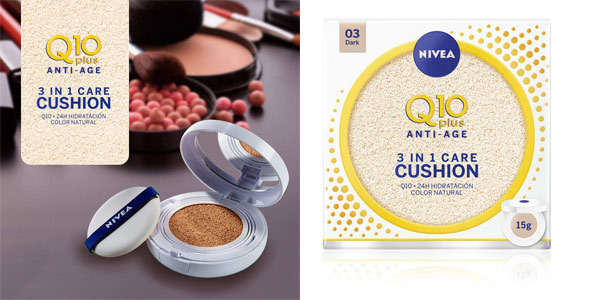 Perfeccionador facial 3 en 1 Care Cushion Nivea Q10 Tono Oscuro 03 de 15 gr con SPF15 barato en Amazon