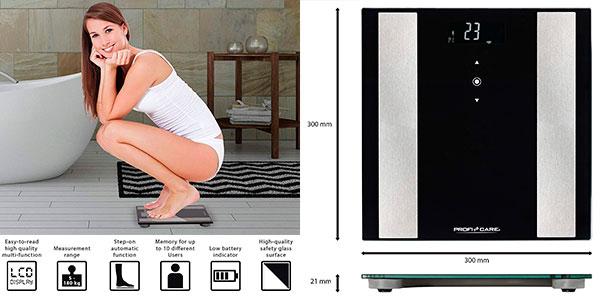 Báscula de baño digital ProfiCare PW 3007 con análisis corporal barata