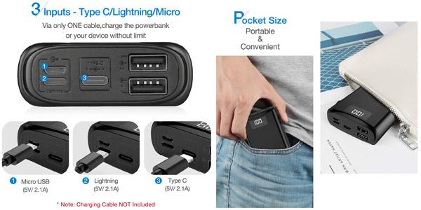 Bateria externa ultraportátil Posugear de 10.000 mAh con pantalla LED chollo en Amazon