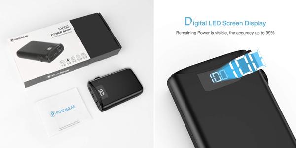 Bateria externa ultraportátil Posugear de 10.000 mAh con pantalla LED chollazo en Amazon