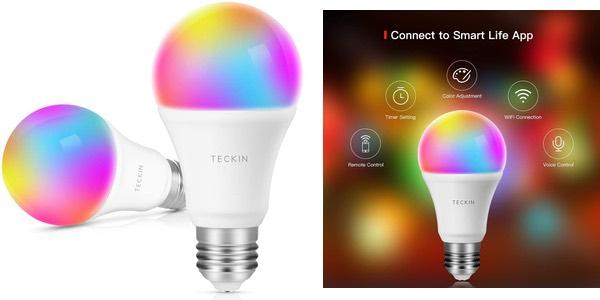bombillas inteligentes TECKIN WiFi RGB baratas