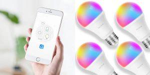 Pack de 4 bombillas inteligentes TECKIN WiFi RGB en Amazon